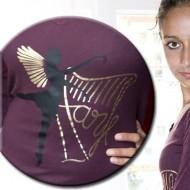 langärmeliges V-Shirt im Ausverkauf mit 3 Motiven: Harfe, Ballerina und verteufeltes Herzchen