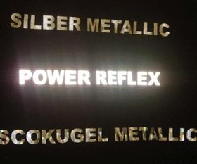 Proof mit Spezialfolien für T-Shirtdruck: Silber metallic, Power Reflex (angestrahlt) und Discokugel